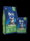 Корм Brit Premium Cat Sterilized для кастрированных котов с курицей и куриной печенью