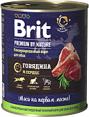 Консервы BRIT Premium by Nature для собак. Говядина и сердце